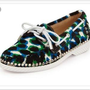 Christian Louboutin Spike Leopard Boat Shoe 39.5